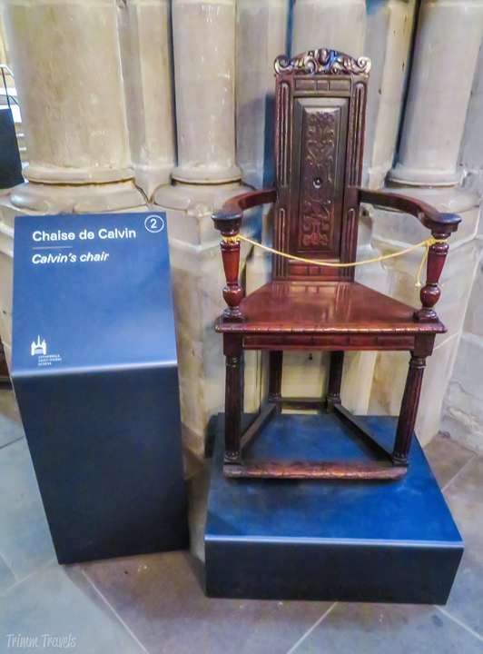 John Calvin's Chair in St Pierre Cathedral Geneva
