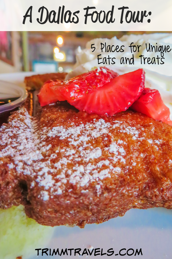 Want recommendations for where to eat in Dallas that aren't ordinary? Look no further than my Dallas food tour of five places for unique eats and treats! #foodtour #dallas
