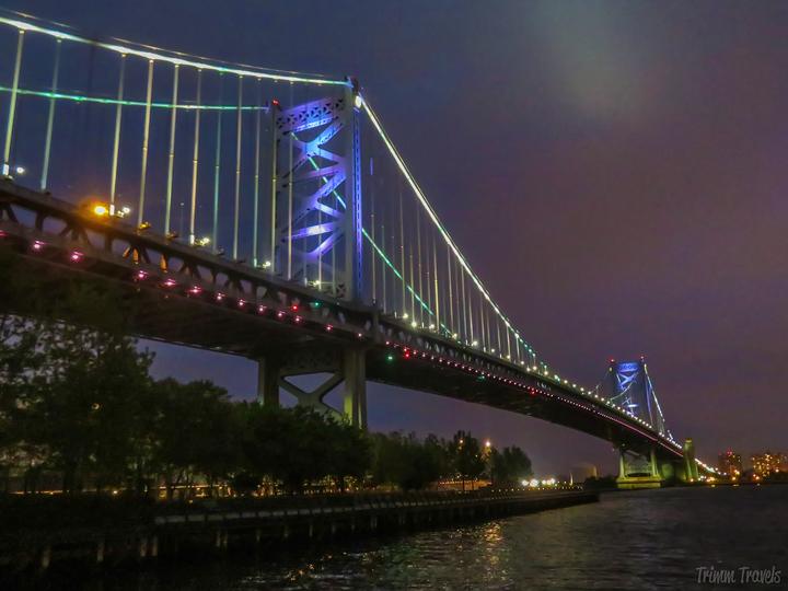 Ben Franklin Bridge at night in Philadelphia Pennsylvania