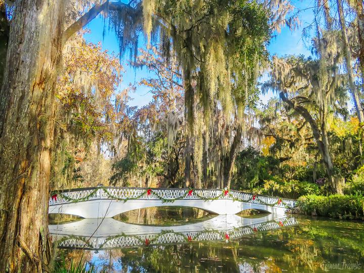 white iconic bridge with Christmas decorations at Magnolia Plantation Charleston South Carolina