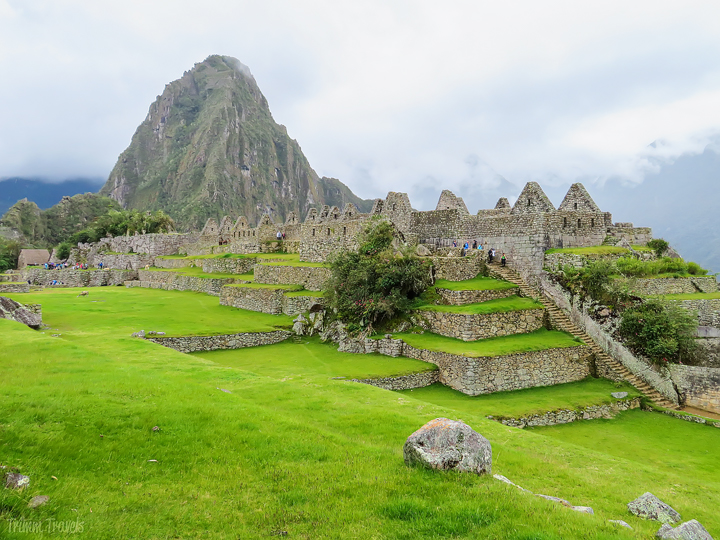 grassy areas with huayna picchu in the background