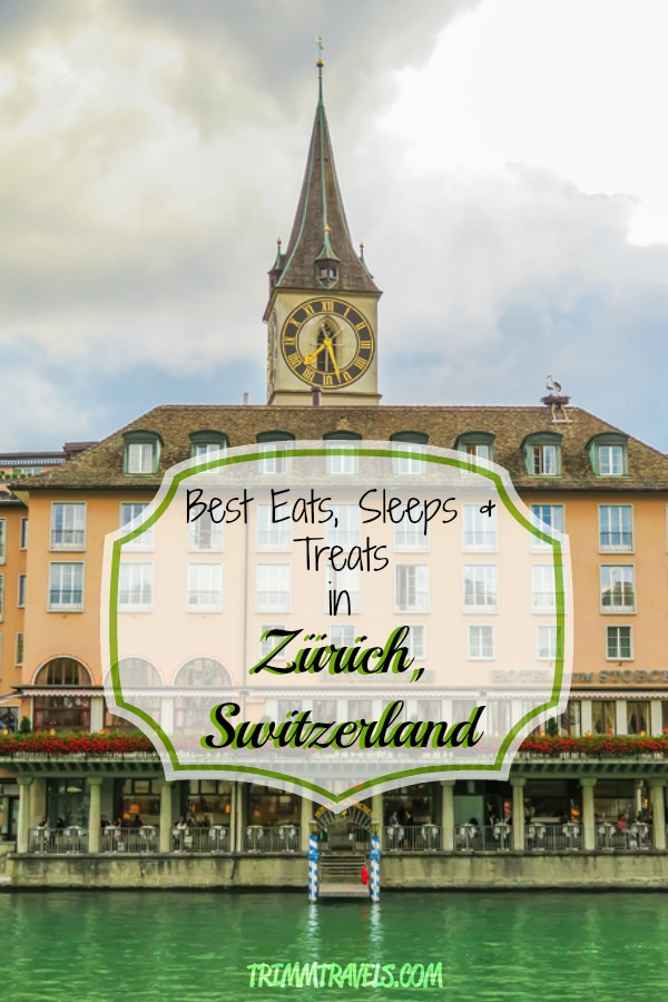 Wondering where to stay and eat in Zürich? Want to try the best Swiss chocolate? I have it all lined up right here in Best Eats, Sleeps and Treats! #zurich #zürich #switzerland #europe #hotels #accommodations #food #foodie #restaurants #travel #destinations