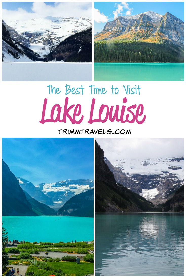 Comparison photos and information from all 4 seasons to help you determine the best time of year to visit Lake Louise in Alberta, Canada! #lakelouise #banff #alberta #canada #lake #travel #destinations